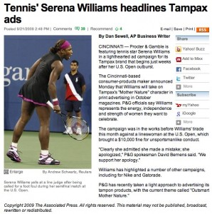 USA Today reports Serena Williams deal with P&G
