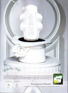 "December 2009 advertisement for Always Infinity pads, which promises to ""pull its own disappearing act"" and ""absorb four times more than you may need""."