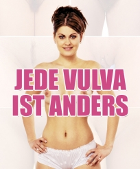 "Photo of woman wearing only underpants, superimposed with words, ""Jede Vulva ist Anders"" (Deutsch for ""every vulva is different"")"