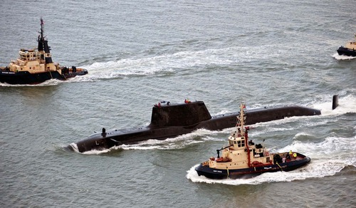 The Royal Navy's newest state-of-the-art submarine leaves Barrow-in-Furness to begin sea trials.
