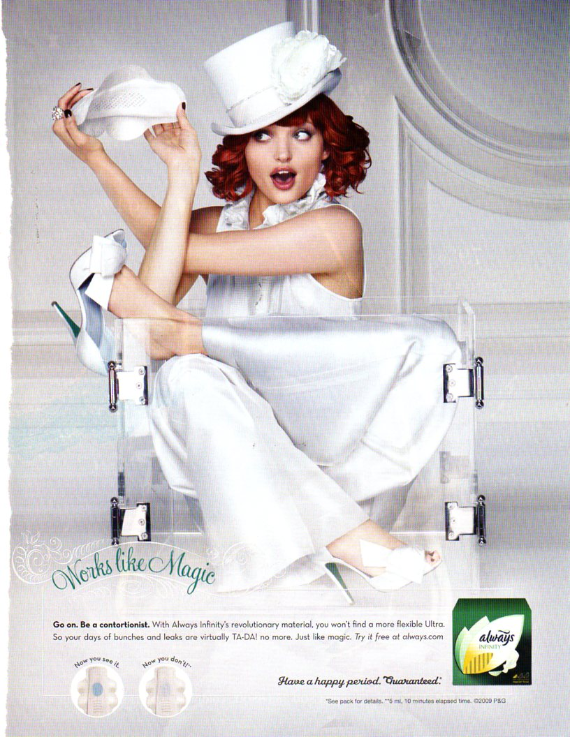 Magazine ad for Always brand maxi pads from Marie Claire,  January 2010