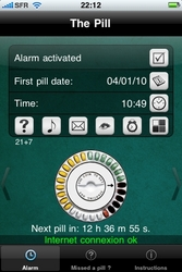 Screen shot from iPhone app to remind user to take birth control pill.