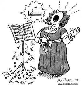 Cartoon illustration of opera singer