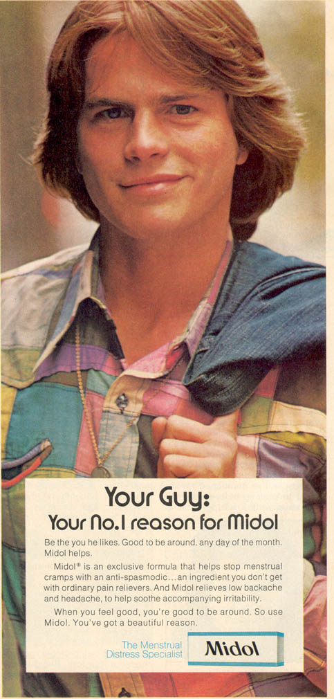 Magazine ad for Midol that appeared in American teen magazines, circa 1974.