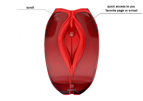 Computer mouse designed to resemble human vulva