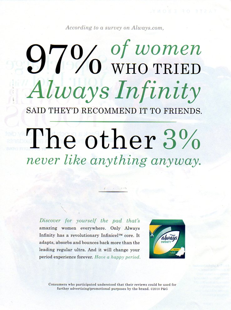 April 2010 magazine ad for Always Infinity maxi-pads